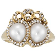 A Late Victorian Pearl And Diamond Twin Heart Ring
