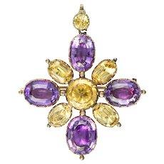 A Georgian Golden Topaz And Amethyst Cross Brooch-pendant