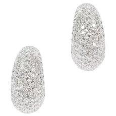 A Pair Of Diamond Set Half Hoop Earrings