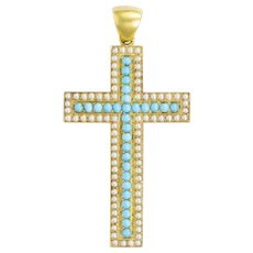 A Victorian Turquoise, Pearl And Yellow Gold Cross Pendant