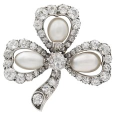 A Victorian Pearl And Diamond Cluster Clover Leaf Brooch