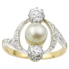 A French Art Nouveau Pearl And Diamond Ring