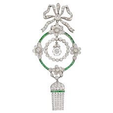 An Edwardian Diamond And Emerald Pendant