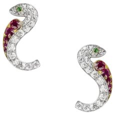 A Pair Of Victorian Ruby And Diamond Serpent Earrings