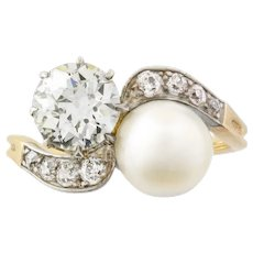 An Edwardian Pearl And Diamond Cross Over Ring