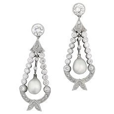 A Pair Natural Pearl And Diamond Drop Earrings