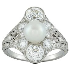 A Belle Époque Natural Pearl And Diamond Ring