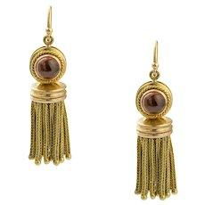 A Pair Of Victorian Garnet And Gold Tassel Earrings