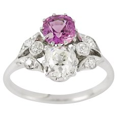 An Early 20th Century Diamond And Pink Sapphire Ring