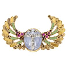 An Antique Egyptian Revival Scarab Brooch