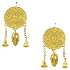 A Pair Of Gold Circular Plaque Earrings By Akelo