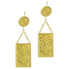 A Pair Of Gold Plaque Earrings By Akelo
