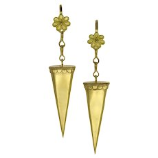 A Pair Of Gold Elongated Triangle Drop Earrings By Akelo