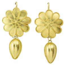 A Pair Of Gold Rosette Pendant Earrings By Akelo
