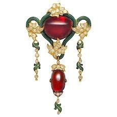 A Victorian Garnet, Diamond And Green Enamel Brooch
