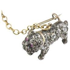 A Late Victorian Miniature Diamond Bulldog Brooch