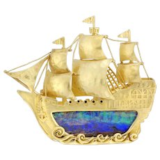 A Gold And Opal Galleon Made By Bentley & Skinner