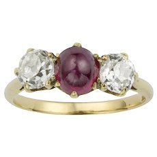 An Early 20th Century Ruby And Diamond Three Stone Ring