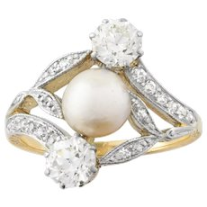 An Art Nouveau Natural Pearl And Diamond Ring