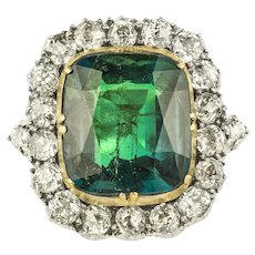 A Victorian Colombian Emerald And Diamond Cluster Ring