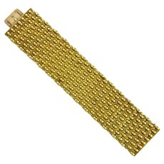 A Victorian Wide Gold Bracelet With Woven Design