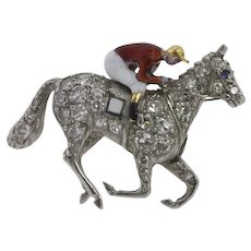 A Late-Victorian Diamond And Enamel Jockey Brooch