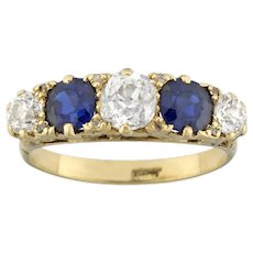 A Victorian Five Stone Sapphire And Diamond Ring