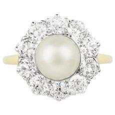A Natural Pearl And Diamond Circular Cluster Ring