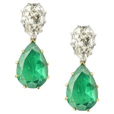 A Pair Of Vintage Diamond And Emerald Drop Earrings