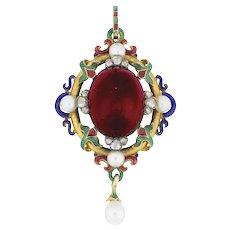 A Victorian Holbeinesque Garnet Pendant