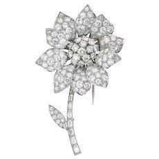 A Vintage Diamond Set Flower Brooch
