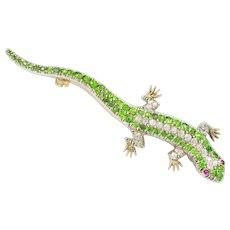 A Victorian Garnet And Diamond Lizard Brooch