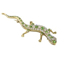 A Victorian Garnet, Opal And Diamond Lizard Brooch