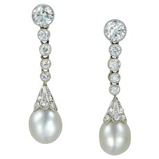 A Pair Of Edwardian Pearl And Diamond Drop Earrings