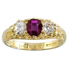 A Ruby And Diamond Three Stone Ring