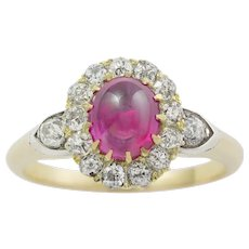 A Late Victorian Cabochon Ruby And Diamond Cluster Ring