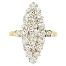 An Edwardian Navette Plaque Old Brilliant-cut Diamond Ring