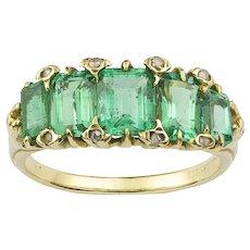 A Late Victorian Emerald Five Stone Ring