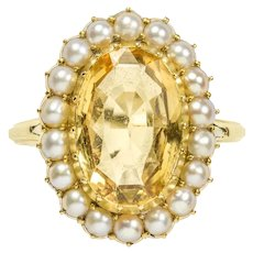A Victorian Topaz And Pearl Cluster Ring