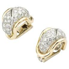 A Pair Of Diamond Hoop Clip Earrings