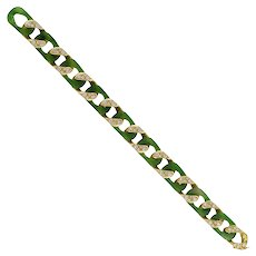 A Vintage Carimati Nephrite, Diamond And Gold Bracelet