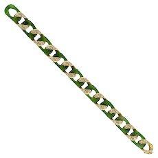 A Vintage Carimati Nephrite, Diamond And Gold Bracelet