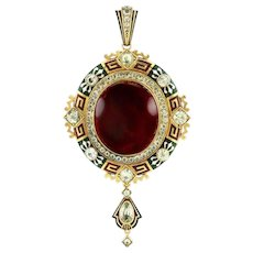 An Important Holbeinesque Garnet And Enamel Pendant