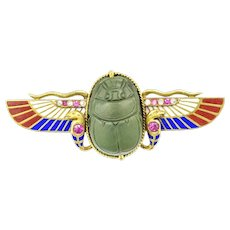 A Victorian Egyptian Revival Scarab Brooch