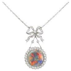 An Edwardian Opal And Diamond Pendant