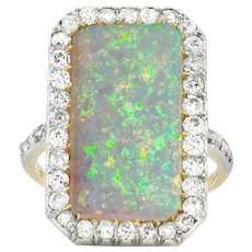 A Vintage Opal And Diamond Cluster Ring