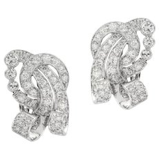 A Pair Of Mid-20th Century Diamond Clip Earring