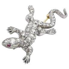 A Victorian Diamond Set Lizard Brooch