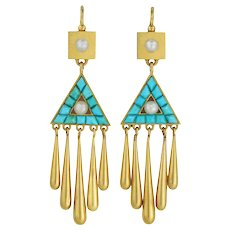A Pair Of Victorian Turquoise And Pearl Drop Earrings