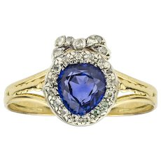 A Late Victorian Sapphire And Diamond Heart Ring